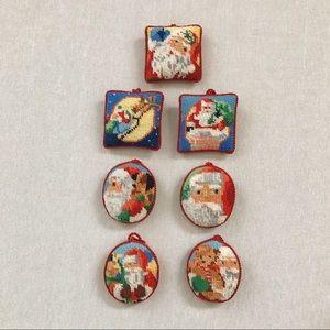Vintage 7 Santa Needlepoint Christmas Ornaments